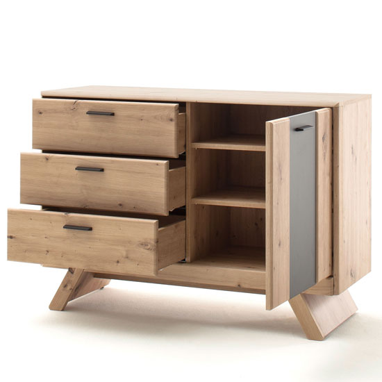 Calais Small 1 Door Sideboard In Planked Oak With 3 Drawers_2