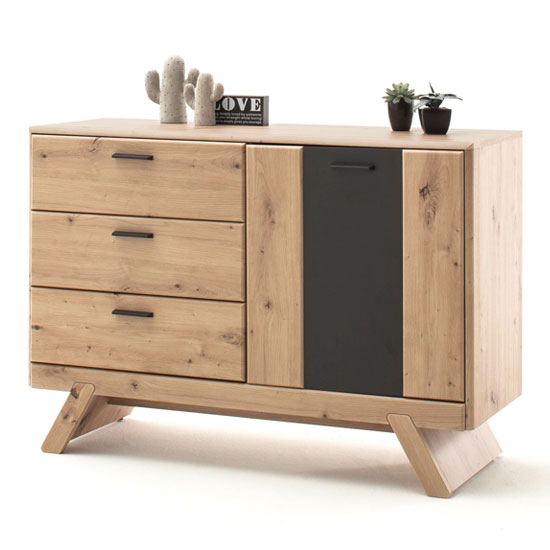 Calais Small 1 Door Sideboard In Planked Oak With 3 Drawers_1