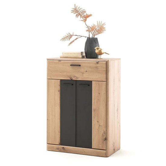 Calais Storage Cabinet In Planked Oak With 2 Doors And 1 Drawer