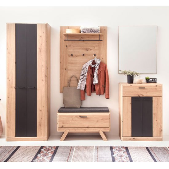 View Calais wooden hallway furniture set in planked oak