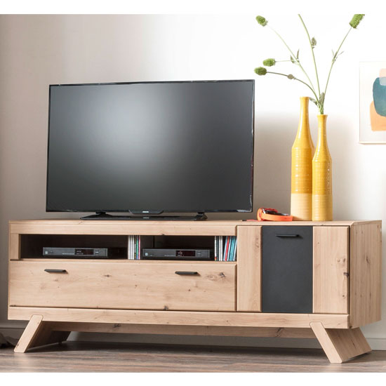 Calais Wooden Small TV Unit In Planked Oak With Legs