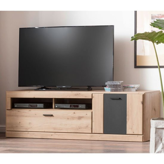 Calais Wooden Small TV Unit In Planked Oak_1