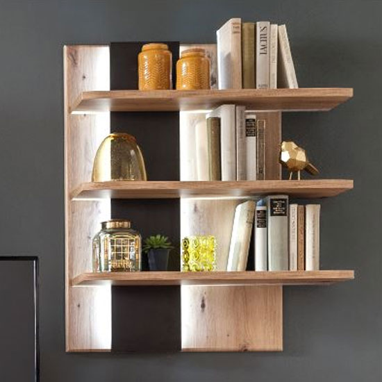 Calais Wooden Vertical Wall Shelving Unit In Planked Oak