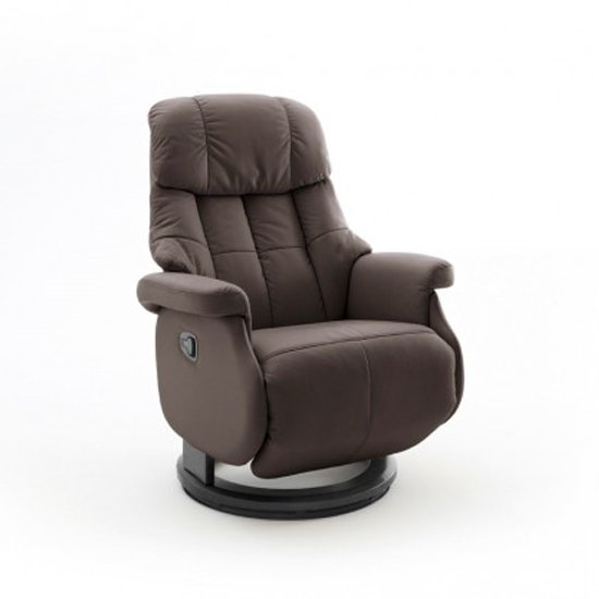 Calgary Comfort Leather Relaxer Chair In Brown And Black