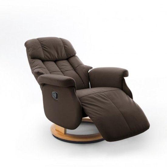 Calgary Comfort Leather Relaxer Chair In Brown And Natural_2