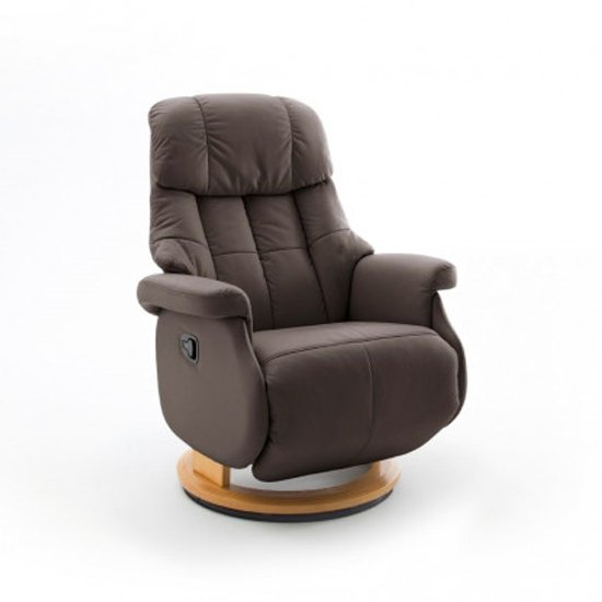 Calgary Comfort Leather Relaxer Chair In Brown And Natural_1