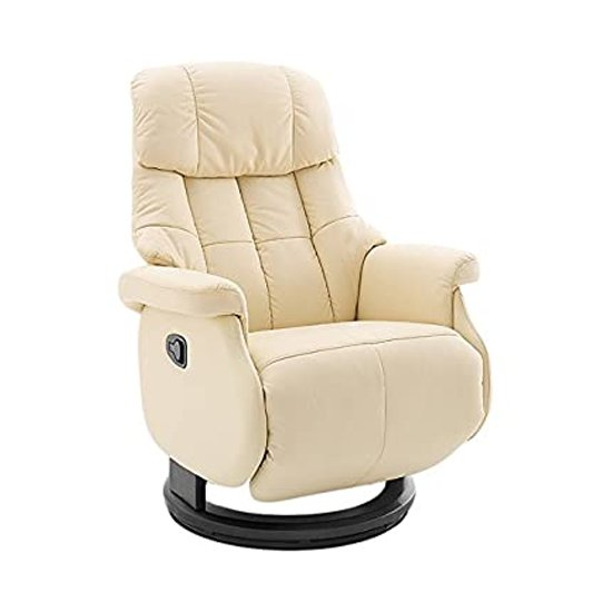 Calgary Comfort Leather Relaxer Chair In Cream And Black