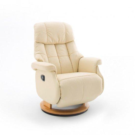 Calgary Comfort Leather Relaxer Chair In Cream And Natural