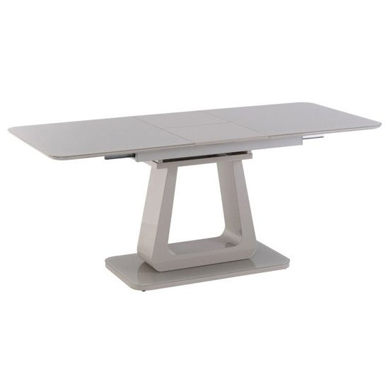 Calgary Extending Dining Table In Light Grey High Gloss