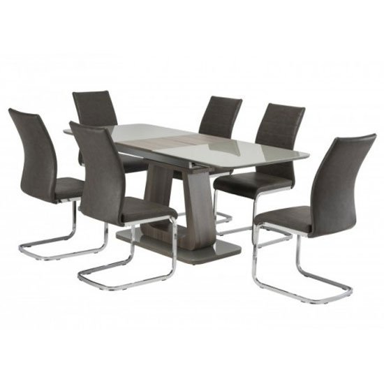 Calgary Glass Extending Dining Set In Grey With 6 Dining Chairs