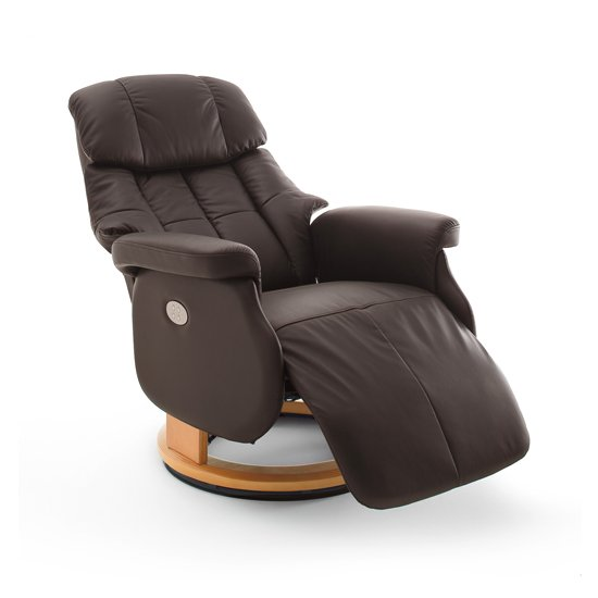Calgary Leather Electric Relaxer Chair In Brown And Natural_2