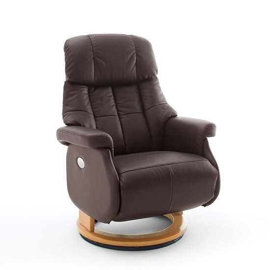Calgary Leather Electric Relaxer Chair In Brown And Natural_1