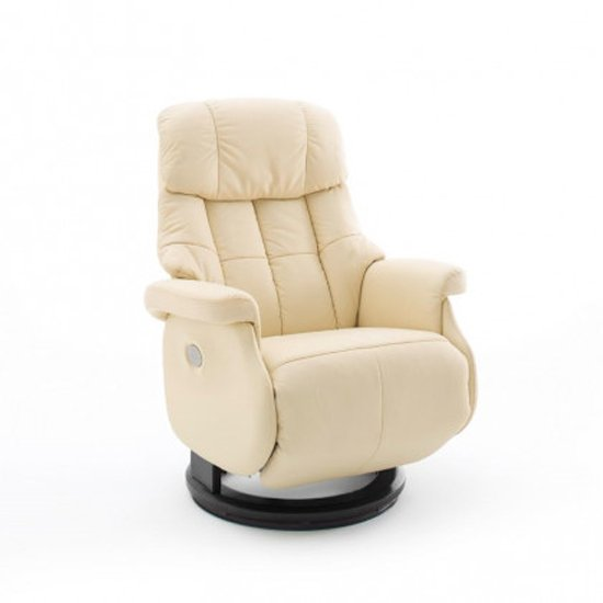 Calgary Leather Electric Relaxer Chair In Cream And Black