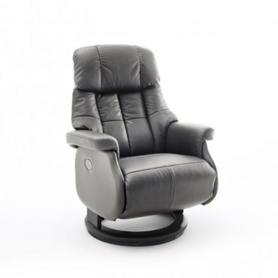 Calgary Leather Electric Relaxer Chair In Grey And Black