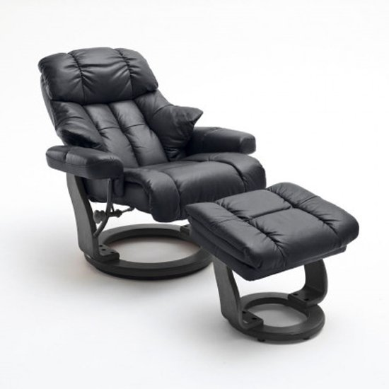 Calgary Relaxer Chair In Black With Footstool