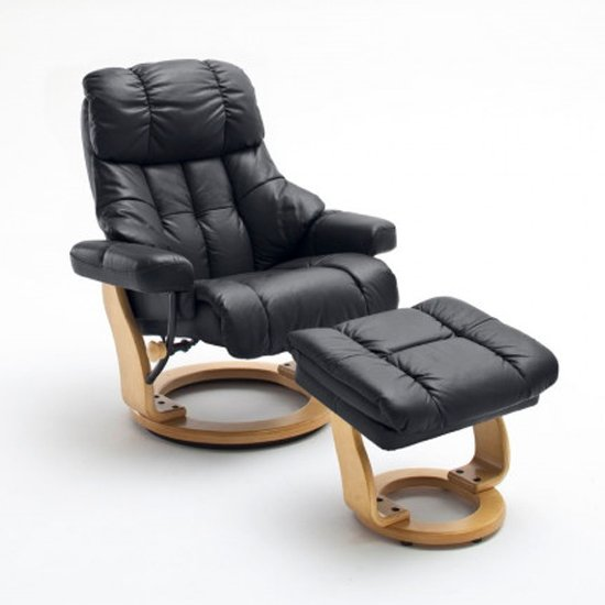 Calgary Relaxer Chair In Black And Natural With Footstool