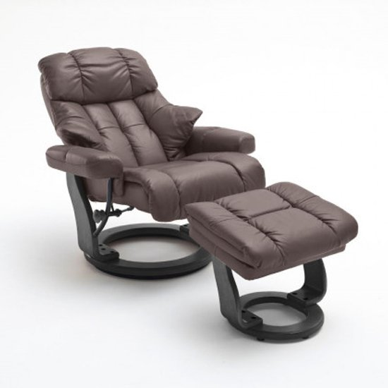 Calgary Relaxer Chair In Brown And Black With Footstool