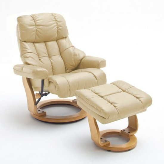 Calgary Relaxer Chair In Cream And Natural With Footstool
