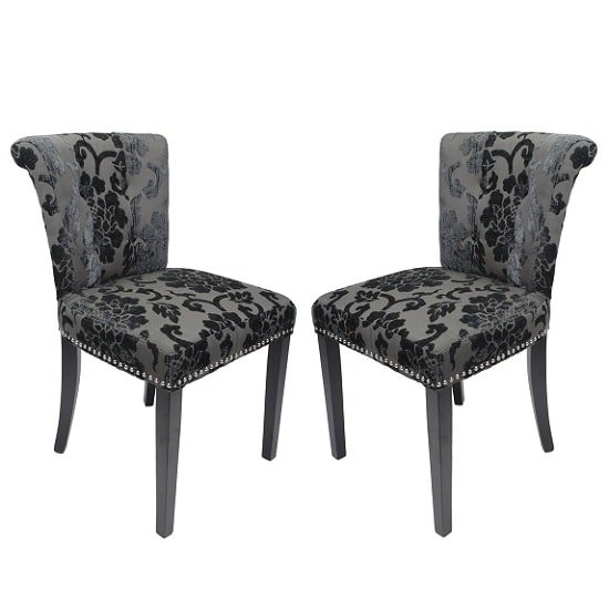 Calgary Baroque Fabric Dining Chair In Charcoal In A Pair