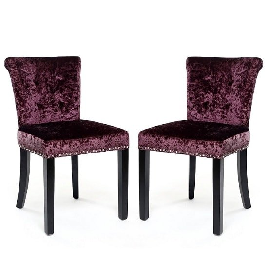 Calgary fabric dining chair in crushed velvet grape a