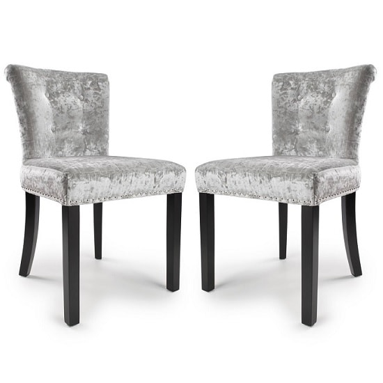 Athena Modern Dining Chair In Crushed Silver Velvet Fabric