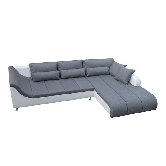 Calgary Corner Sofa In Grey And White With Chrome Feet