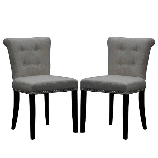 Calgary Fabric Dining Chair In Linen Effect Grey In A Pair_1