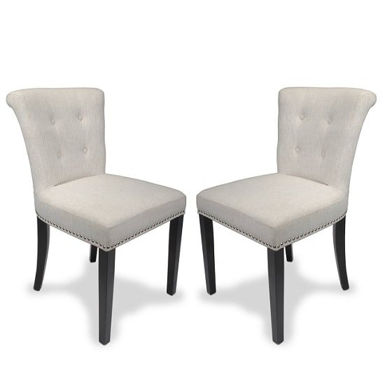 Calgary Fabric Dining Chair In Linen Effect Natural In A Pair