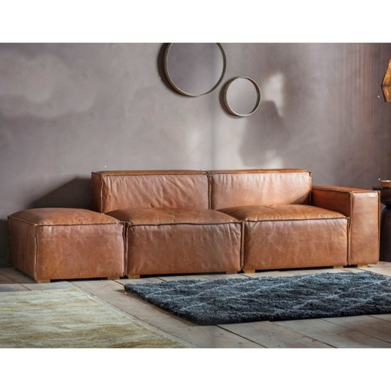 View Calgola faux leather corner sofa in vintage brown