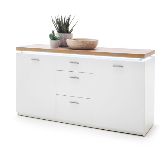 Cali LED 2 Doors Sideboard In Oak And White With 3 Drawers