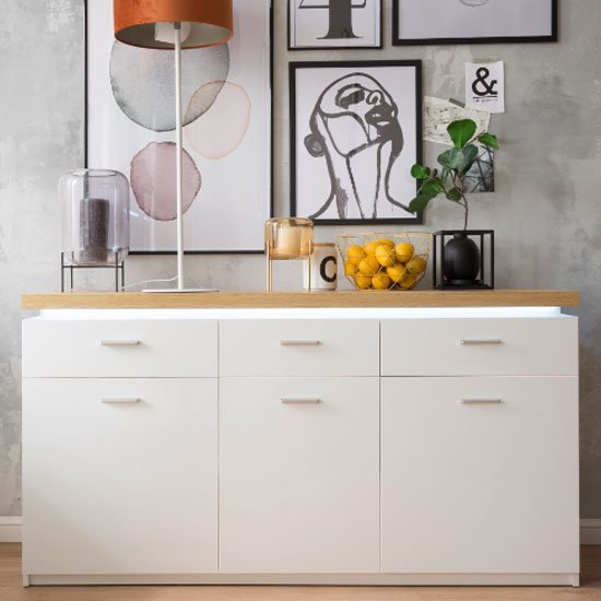 Cali LED 3 Doors Sideboard In Oak And White With 3 Drawers