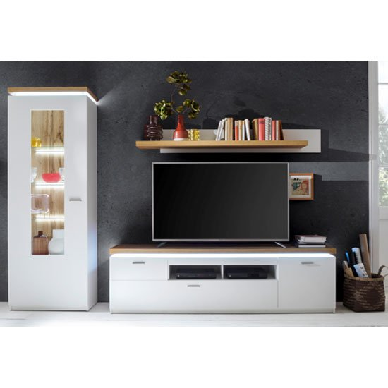 Cali LED Living Room Set In Oak And White With Display Cabinet