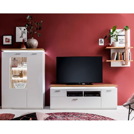 Cali LED Living Room Set In Oak And White With Highboard