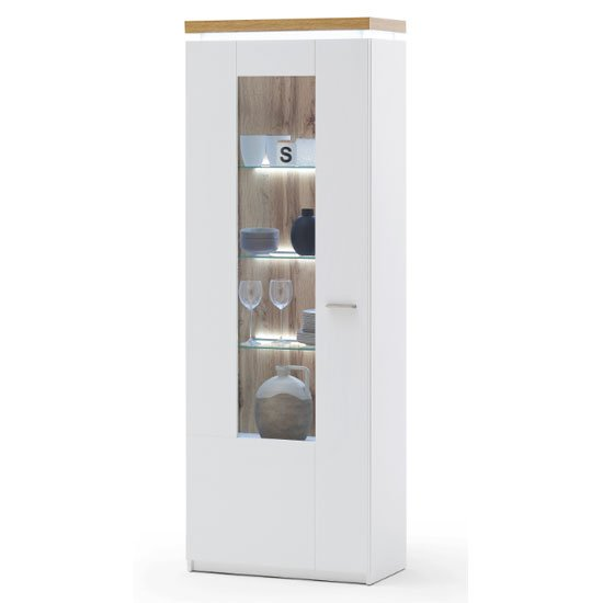 Product photograph showing Cali Led Wooden Display Cabinet In Oak And White With 1 Door