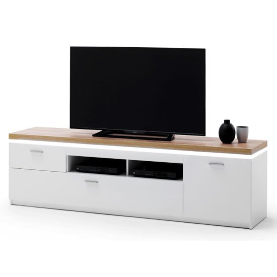Cali LED Wooden Large TV Unit In Oak And White
