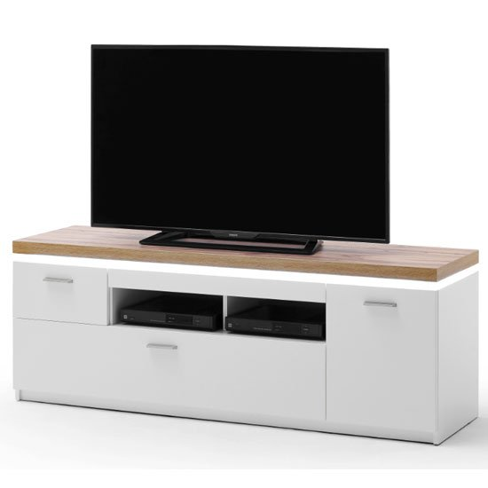 Cali LED Wooden Small TV Unit In Oak And White
