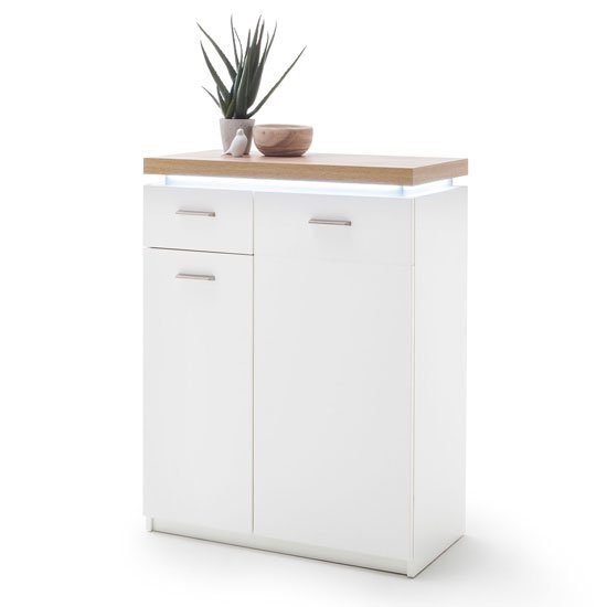 Cali LED Wooden Storage Cabinet In Oak And White With 2 Doors