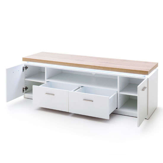 Cali LED Wooden TV Unit In Oak And White_2