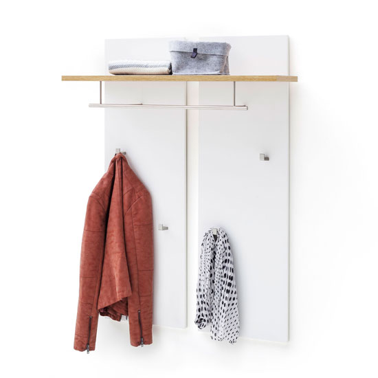Cali Wooden Coat Rack In Oak And White
