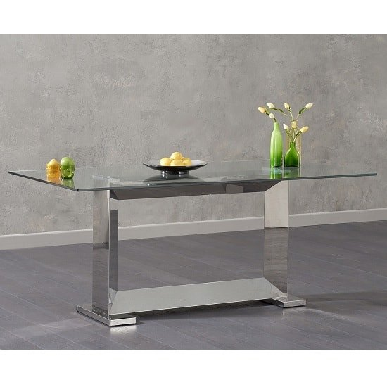 Caliban Glass Dining Table In Clear And Polished Stainless Steel