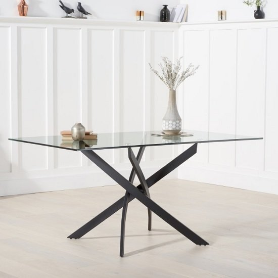 Caliban Glass Dining Table Rectangular In Clear With Metal Legs