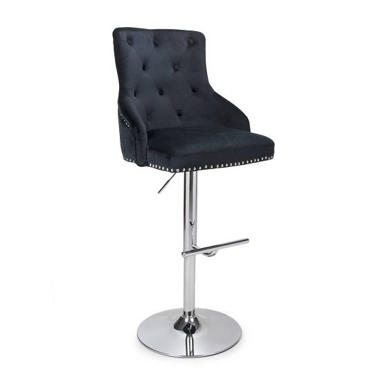Leoni Bar Stool In Charcoal Grey Faux Leather With Chrome