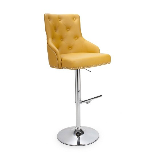 Calico Bar Stool In Yellow With Polished Chrome Base