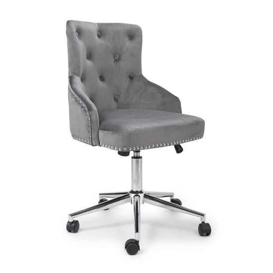 Calico Office Chair In Grey Brushed Velvet With Chrome Base