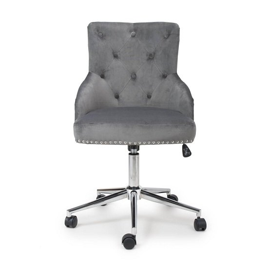Calico Office Chair In Grey Brushed Velvet With Chrome Base_3