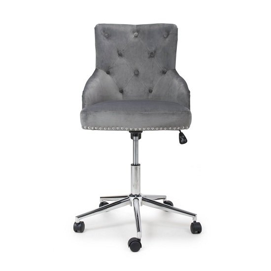 Calico Office Chair In Grey Brushed Velvet With Chrome Base_4