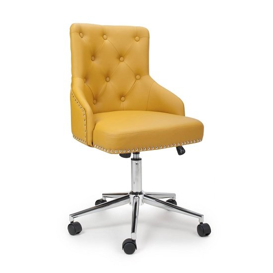 Calico Office Chair In Yellow Leather Match With Chrome Base_1