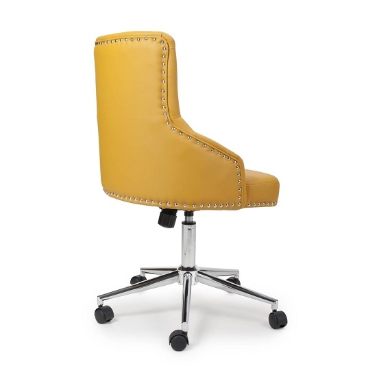 Calico Office Chair In Yellow Leather Match With Chrome Base_2