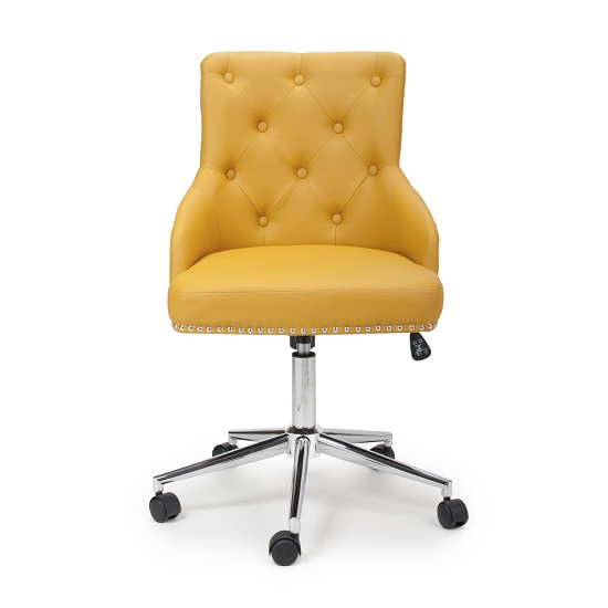 Calico Office Chair In Yellow Leather Match With Chrome Base_3