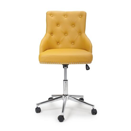 Calico Office Chair In Yellow Leather Match With Chrome Base_4